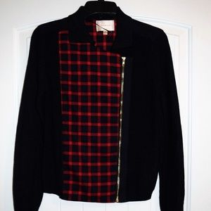 Skies Are Blue Jacket Checkered Blazer Red Coat